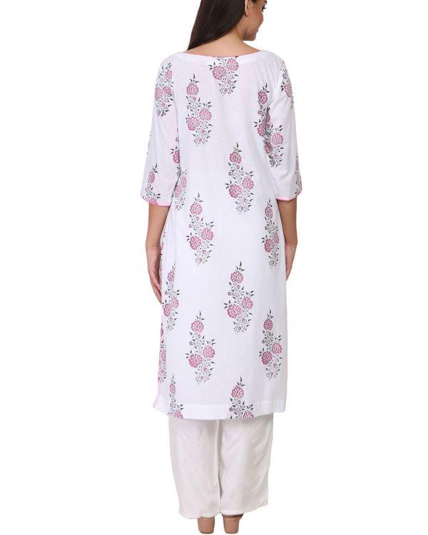 Pink and black floral print white cotton kurta 1