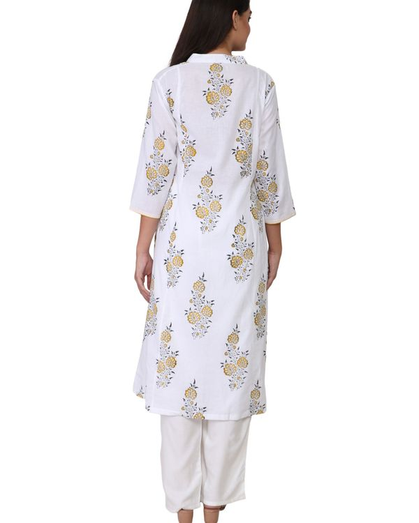 Yellow and black floral print white cotton kurta 2