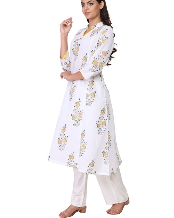 Yellow and black floral print white cotton kurta 1