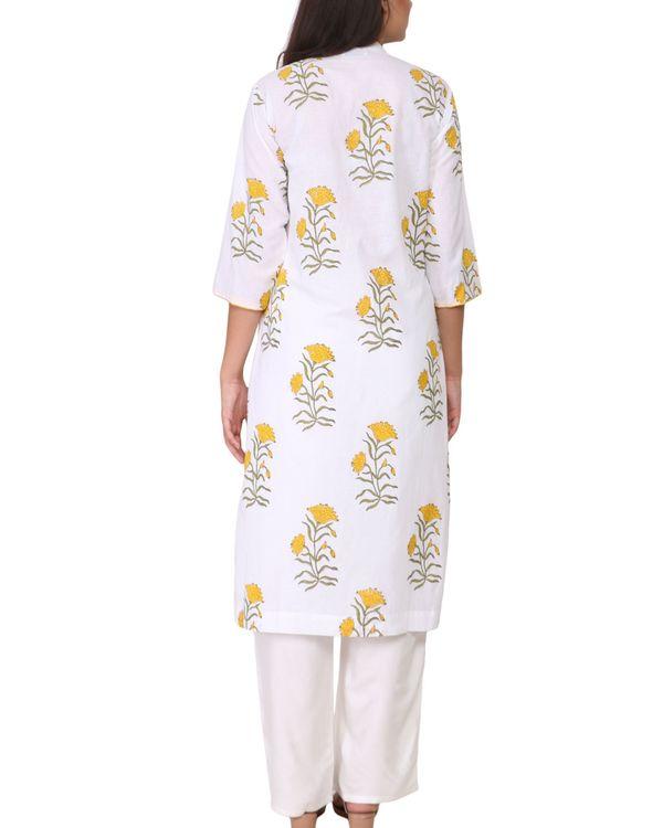Yellow and green floral print cotton kurta 2