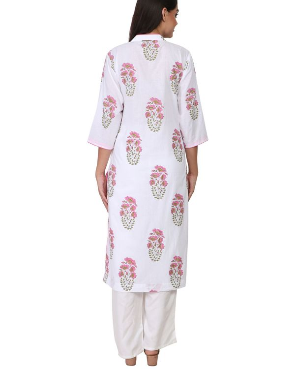 Pink and green floral print white cotton kurta 2