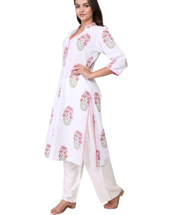 Pink and green floral print white cotton kurta 1
