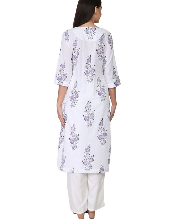 Purple and black floral print cotton kurta 2