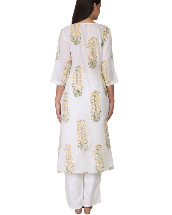 Floral yellow and green print a-line cotton kurta 2
