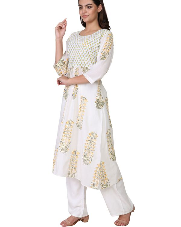 Floral yellow and green print a-line cotton kurta 1