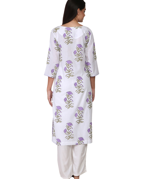 Purple floral print cotton kurta 1