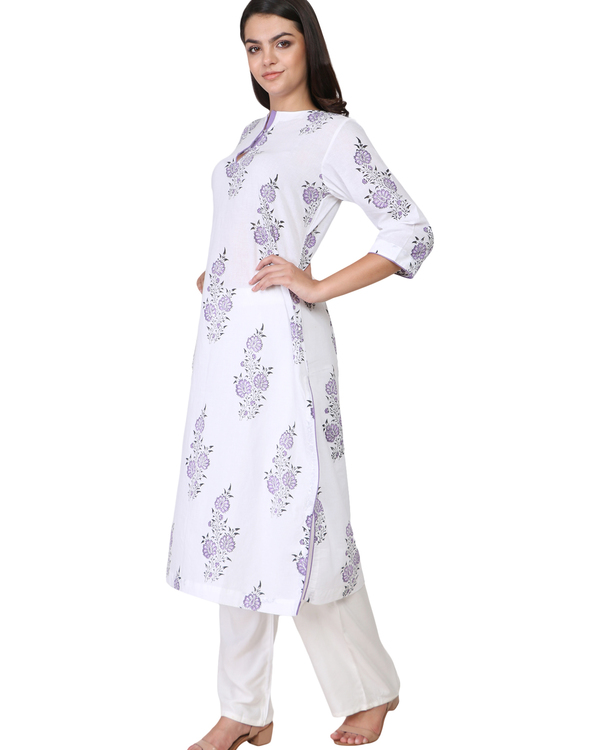 Purple floral print cotton kurta 2