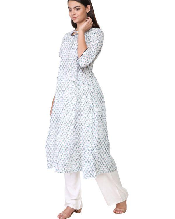 Blue floral print white cotton kurta 1