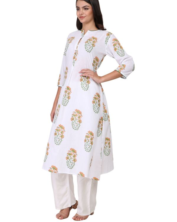Orange and green floral print cotton kurta 1
