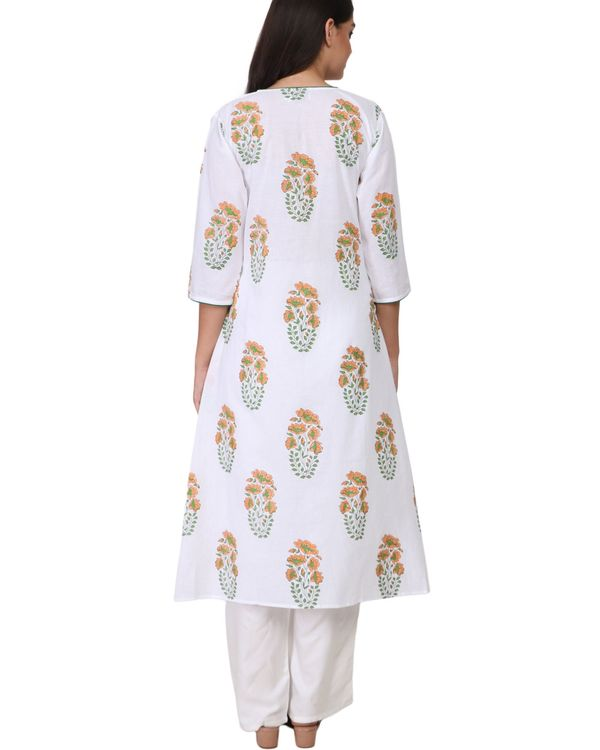 Orange and green floral print cotton kurta 2