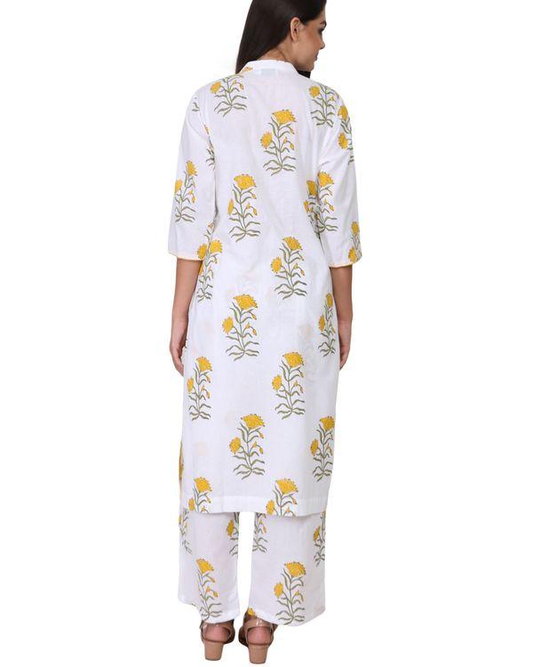 Yellow and green floral print cotton kurta set - set of two 2