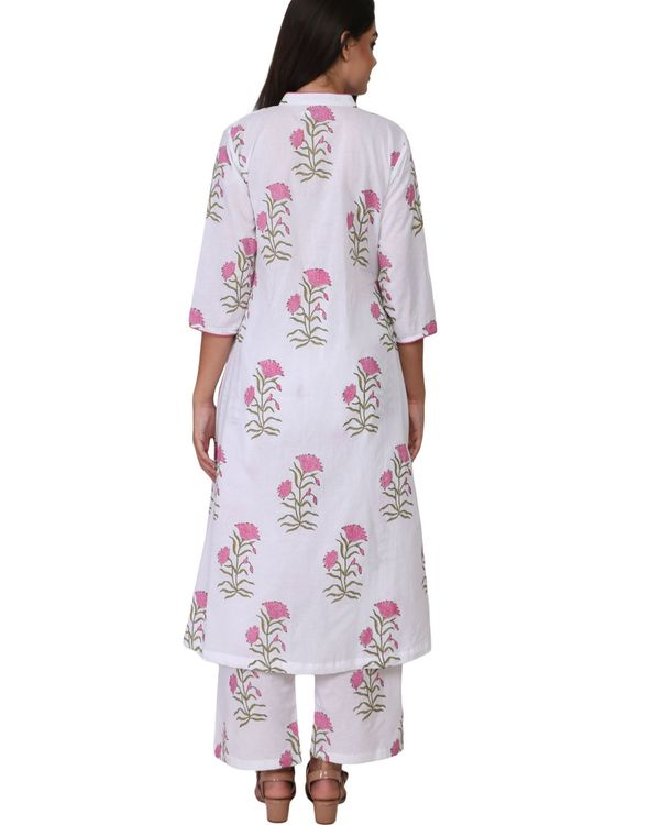 Pink and green floral print cotton kurta set - set of two 1