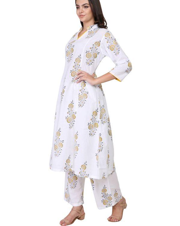 Yellow and black floral print cotton kurta set - set of two 1