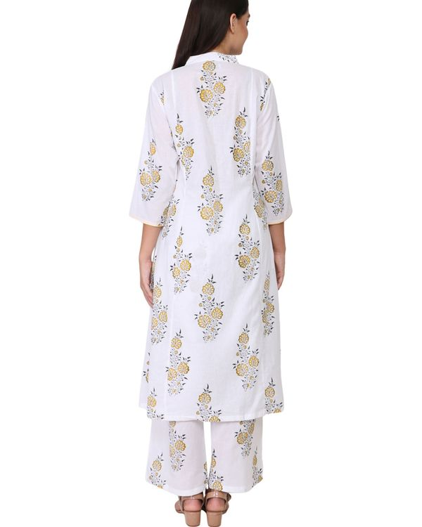 Yellow and black floral print cotton kurta set - set of two 1