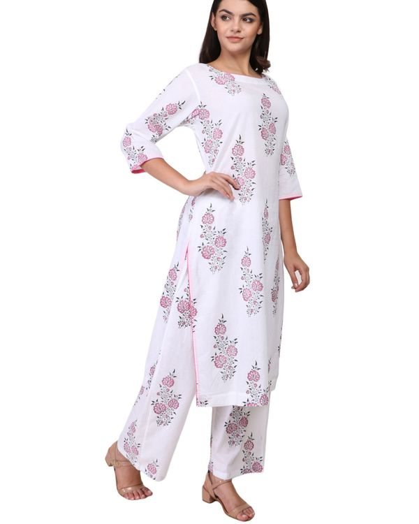 Pink and black floral print cotton kurta set - set of two 1