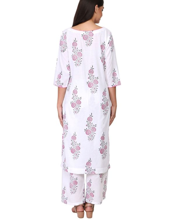 Pink and black floral print cotton kurta set - set of two 2