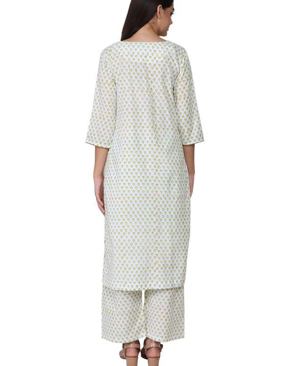 White floral print green cotton kurta set - set of two 2