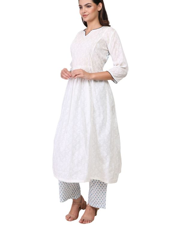 White and blue contrast floral print cotton a-line kurta set - set of two 1