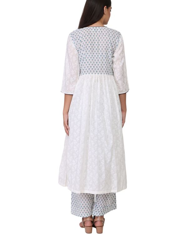 White and blue contrast floral print cotton a-line kurta set - set of two 2