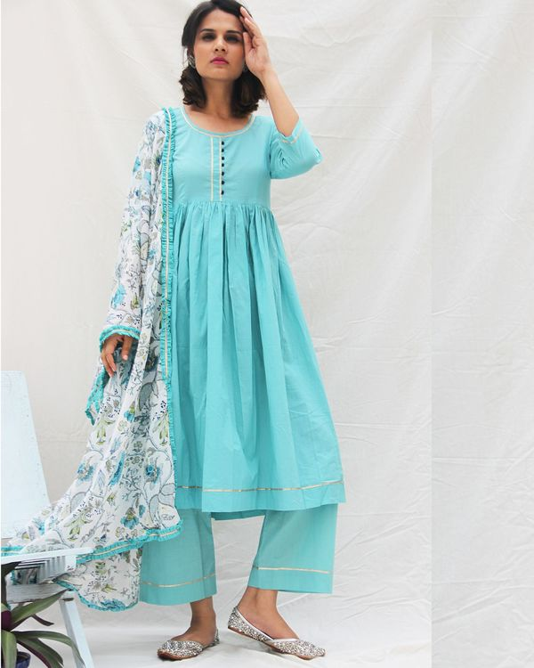 Plain blue kurta with pants- set of two 1
