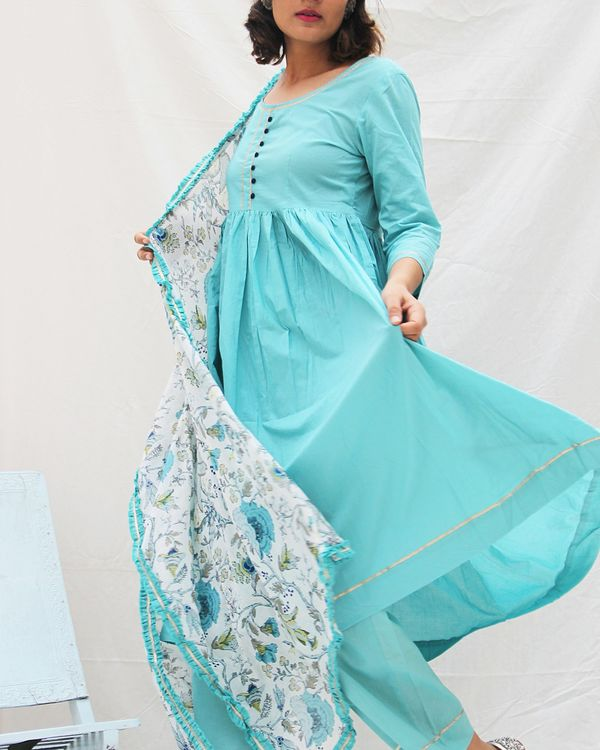 Flared blue kurta with straight pants and printed dupatta- set of three 1