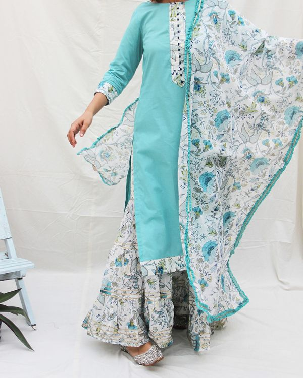 Plain long kurta with potali button in front and a gharara with dupatta -set of three 2