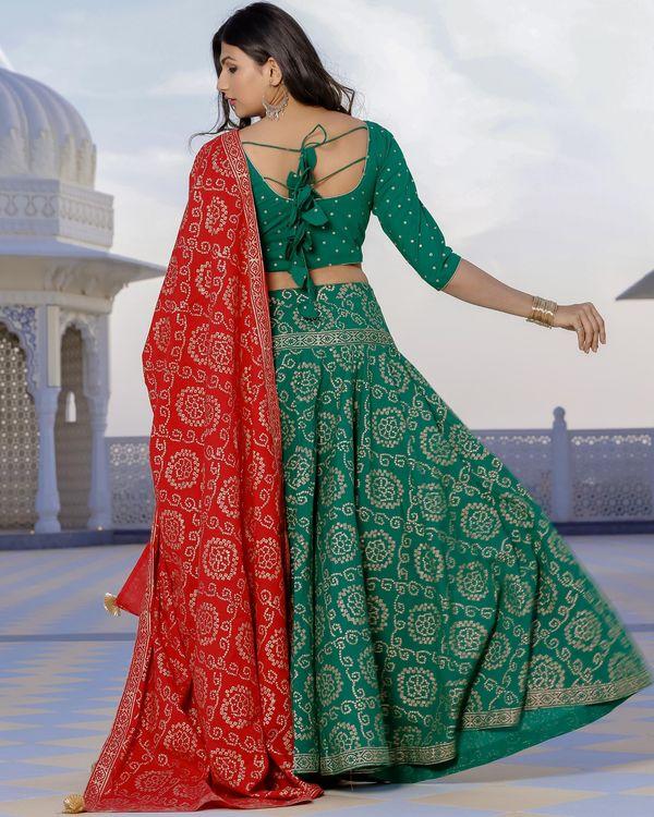 Red and green bandhani lehenga set- set of three 1