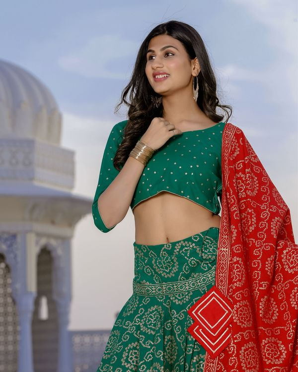 Red and green bandhani lehenga set- set of three 2