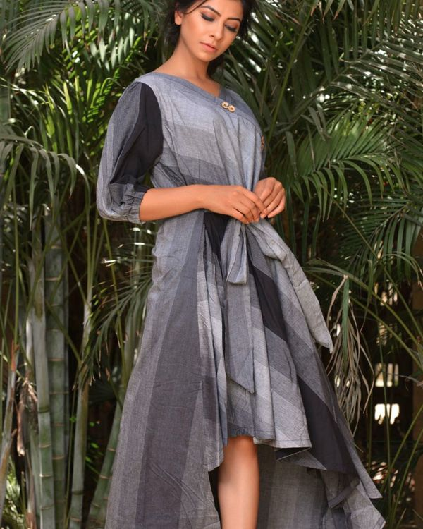 The black and grey asymmetrical knot dress 1