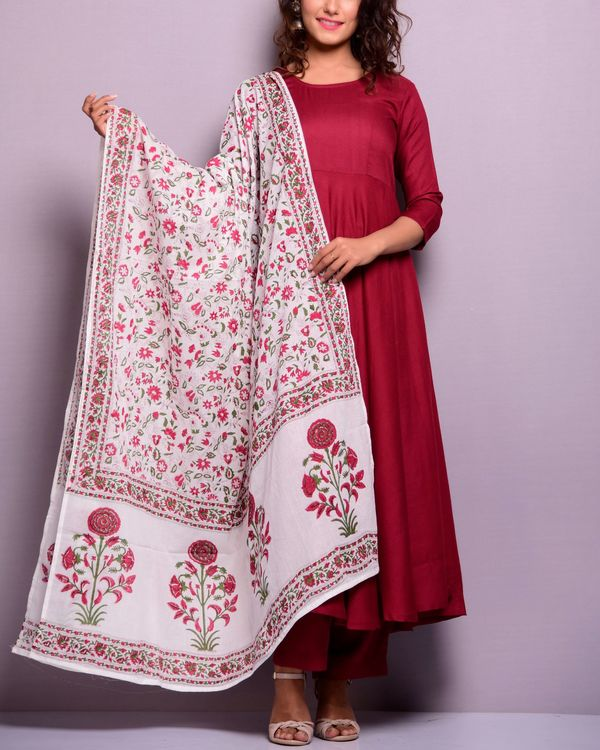 Ihram Kids For Sale Dubai: Maroon Anarkali Suit Set With Printed Dupatta- Set Of