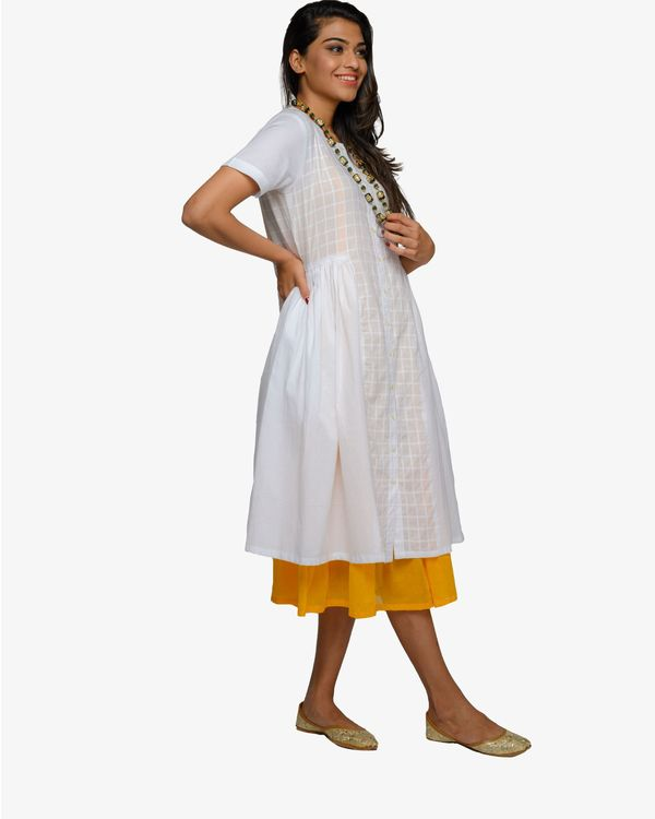 White and mustard inner dress- set of two 3
