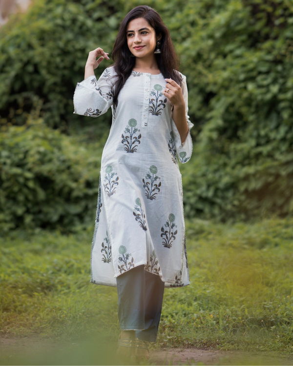 Pastel floral print straight kurta with deep blue pants- set of two 1