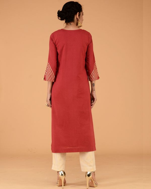 Red kurta with straight golden pants- set of two 1