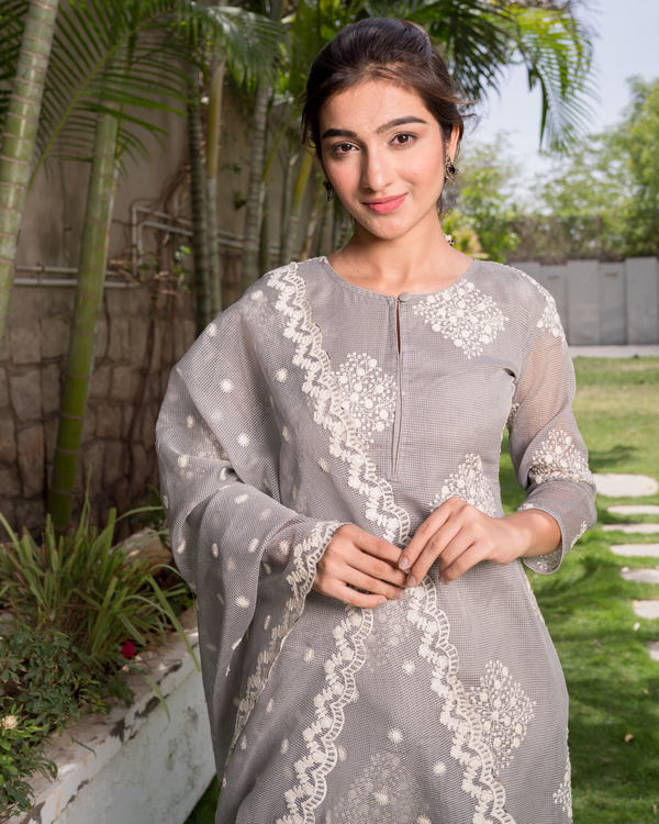 Grey Embroidered Kota Kurta and Dupatta Set - Set of 2 3