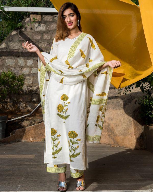 Yellow and Green Mughal Boota Printed Dupatta Set - Set of 3 4