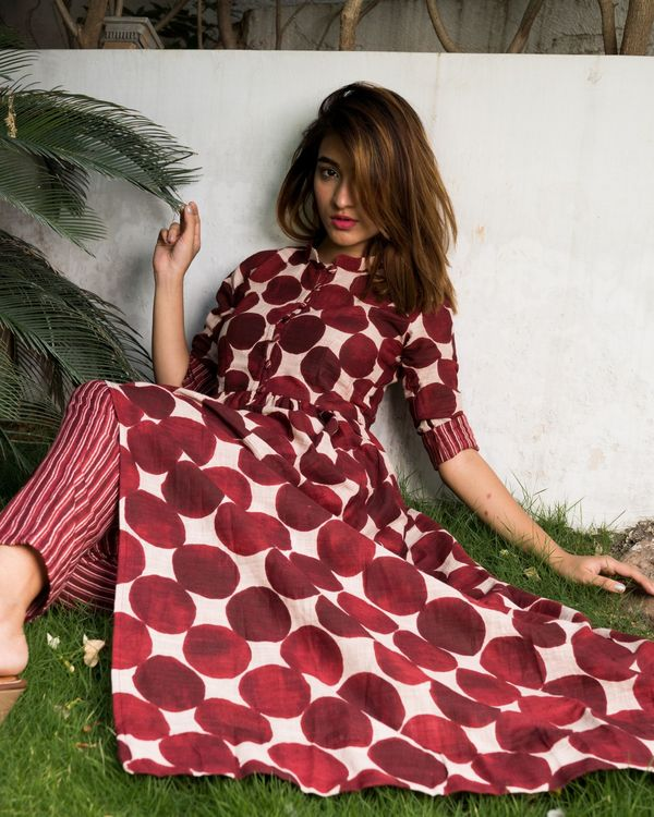 Maroon colored polka dot kurta with striped pants - set of two. 1
