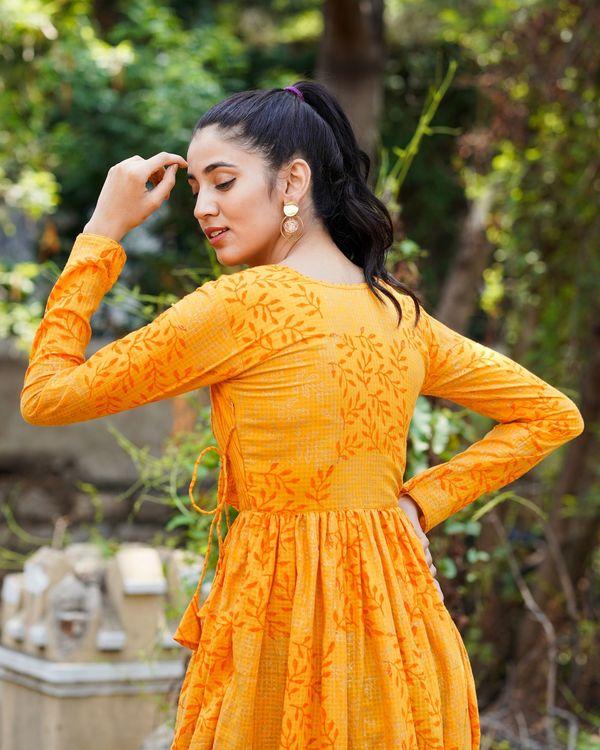 Orange printed long dress 3