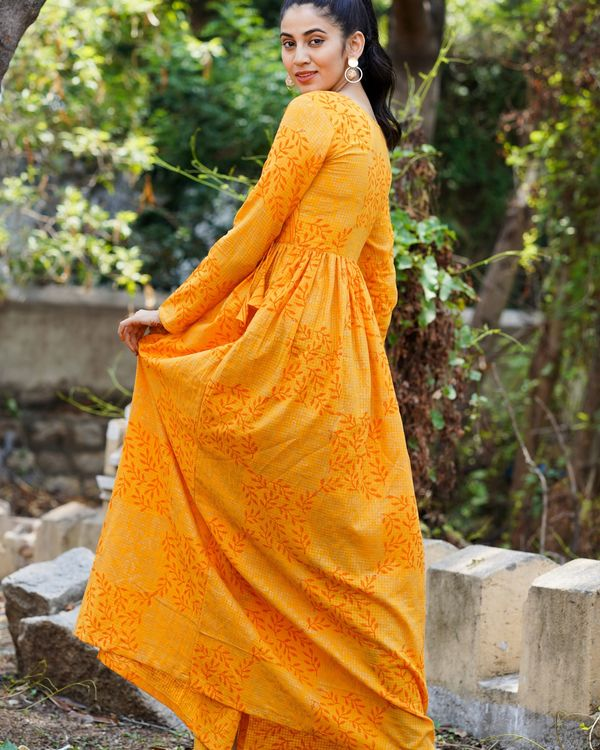 Orange printed long dress 2