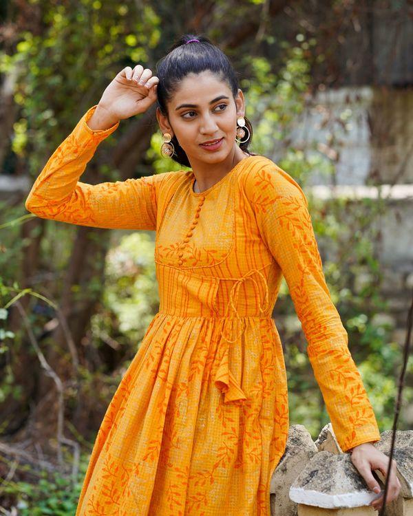 Orange printed long dress 1
