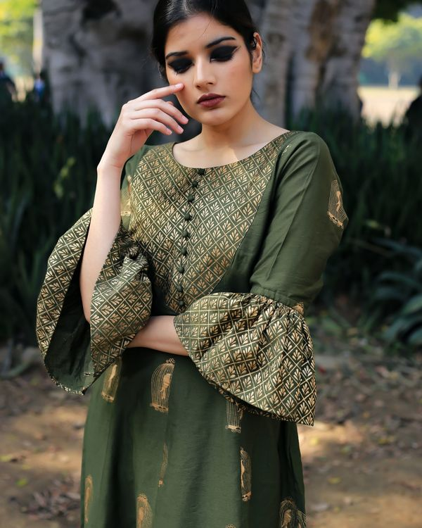 Green colored block printed suit set- set of three 2