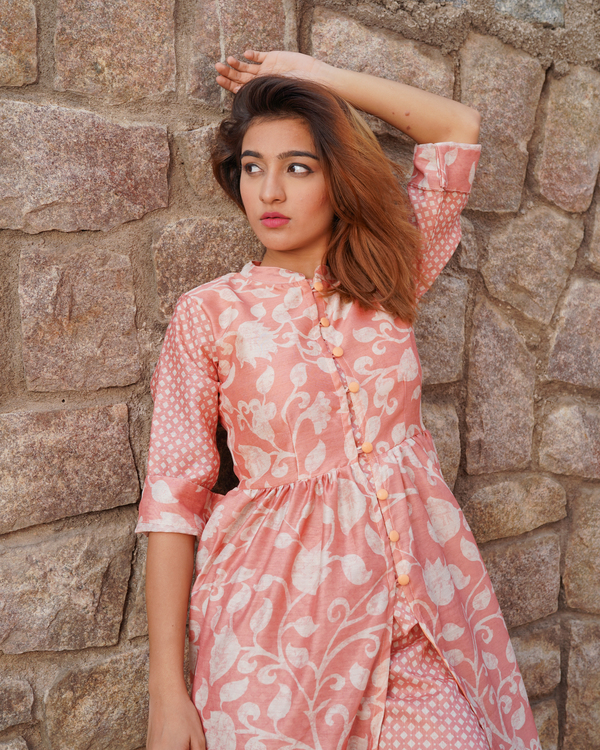 Pretty pink chanderi floral printed cape with pants -set of two 1