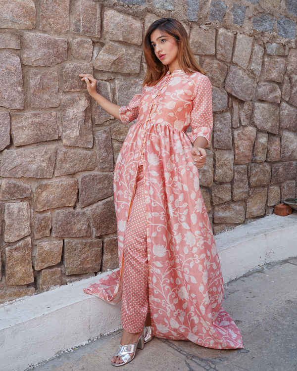 Pretty pink chanderi floral printed cape with pants -set of two 3