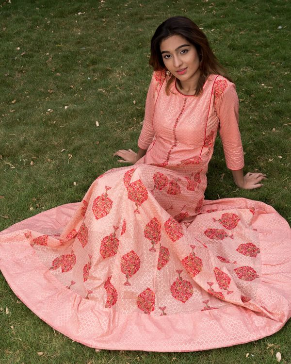 Pretty pink block printed dress with dupatta - set of two 1