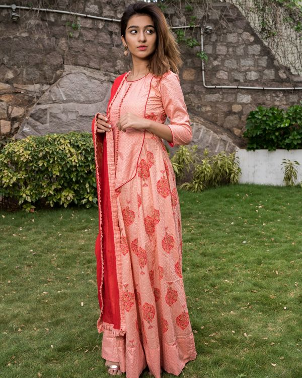 Pretty pink block printed dress with dupatta - set of two 2