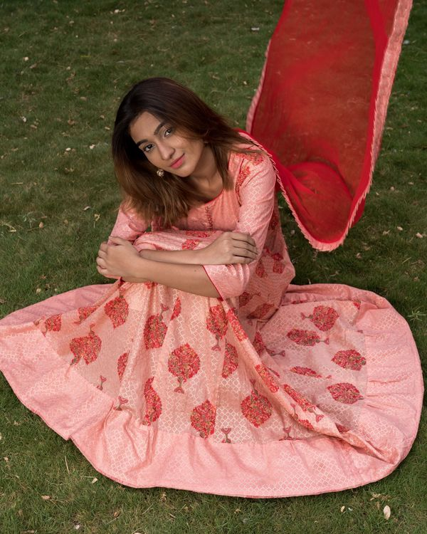 Pretty pink block printed dress with dupatta - set of two 3