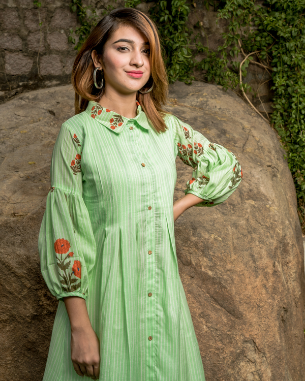 Self Striped Mint Green Box Pleated Dress with Printed Balloon Sleeves. 1