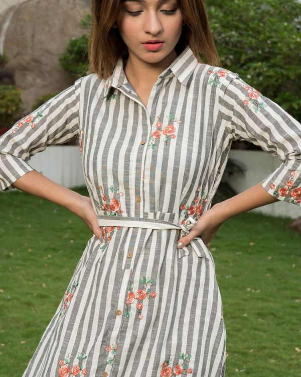 Floral embroidered grey and white stripes dress with belt tie up 1