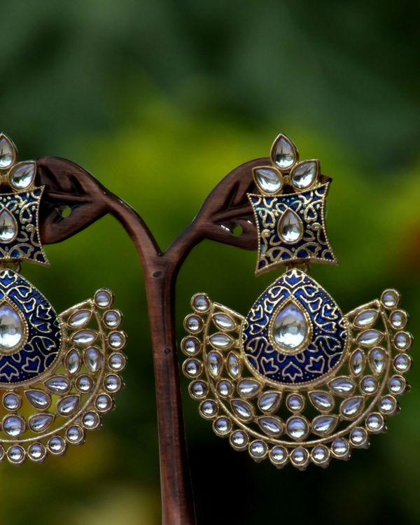Blue enamel stone earrings 1