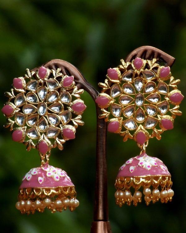 Baby pink meenakari stone earrings 1