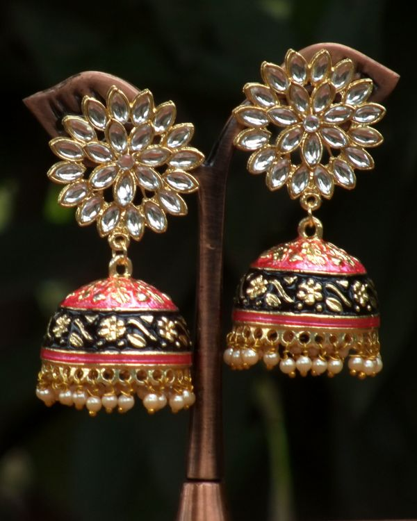 Black and peach meenakari jhumkas 1